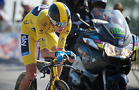 Chris Froome (GBR) in the final stretch towards the finish<br /> <br /> Tour de France 2013<br /> stage 11:  Avranches - Mont Saint-Michel<br /> 33km