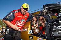 Apr 23, 2017; Baytown, TX, USA; NHRA top fuel driver Leah Pritchett celebrates with crew members after winning the Springnationals at Royal Purple Raceway. Mandatory Credit: Mark J. Rebilas-USA TODAY Sports