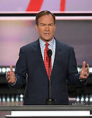 Bill Schuette, Attorney General of Michigan, makes remarks at the 2016 Republican National Convention held at the Quicken Loans Arena in Cleveland, Ohio on Monday, July 18, 2016.<br /> Credit: Ron Sachs / CNP<br /> (RESTRICTION: NO New York or New Jersey Newspapers or newspapers within a 75 mile radius of New York City)