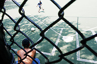 Players practice for the United States Homeless World Cup team in New York City on June 15, 2005.