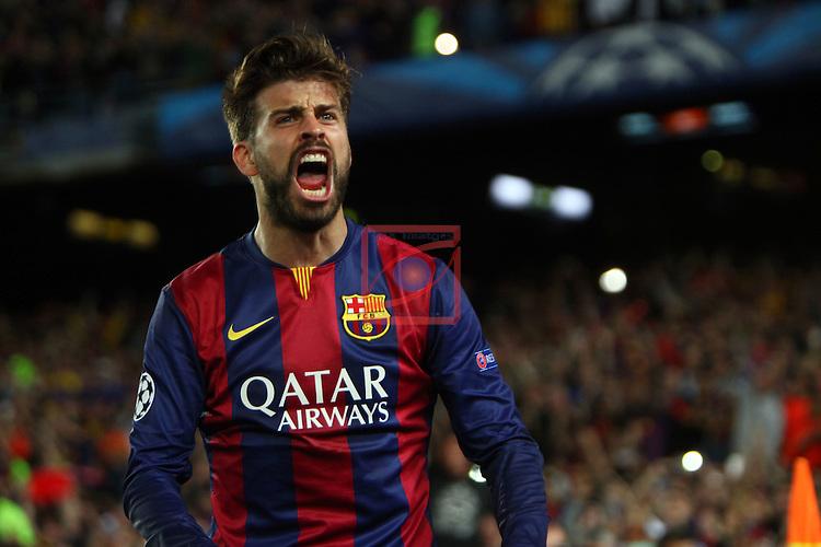 UEFA Champions League 2014/2015. <br /> Semi-finals 1st leg.<br /> FC Barcelona vs FC Bayern Munchen: 3-0.<br /> Gerard Pique.