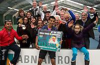 20-01-13, Tennis, Rotterdam, Wildcard for qualification ABNAMROWTT,  Fabian van der Lans wint wildcard enposeerd met zijn fans
