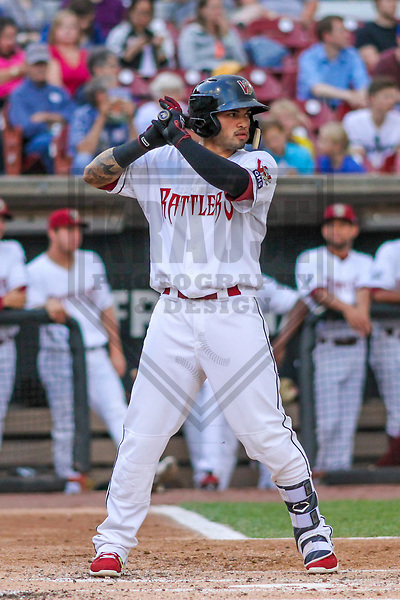 Wisconsin Timber Rattlers catcher Mario Feliciano (4) during a Midwest League game against the Quad Cities River Bandits on June 8, 2017 at Fox Cities Stadium in Appleton, Wisconsin.  Wisconsin defeated Quad Cities 8-3. (Brad Krause/Krause Sports Photography)