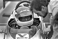 INDIANAPOLIS, IN - MAY 27: Bobby Rahal, driver of the 7-11 March 84C 06/Cosworth, speaks with engineer Adrian Newey during practice for the Indianapolis 500 at the Indianapolis Motor Speedway in Indianapolis, Indiana, on May 27, 1984.
