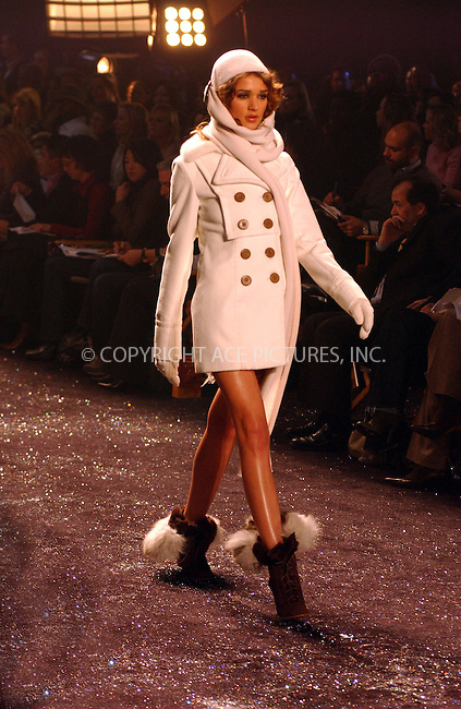 WWW.ACEPIXS.COM . . . . . ....NEW YORK, FEBRUARY 11, 2005....A model at Jennifer Lopez's Sweetface Fall 2005 show at Olympus Fashion Week.  ....Please byline: KRISTIN CALLAHAN - ACE PICTURES.. . . . . . ..Ace Pictures, Inc:  ..Philip Vaughan (646) 769-0430..e-mail: info@acepixs.com..web: http://www.acepixs.com