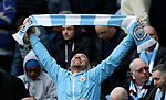 A Manchester City fan celebrates at half time during the premier league match at the Etihad Stadium, Manchester. Picture date 7th April 2018. Picture credit should read: Simon Bellis/Sportimage