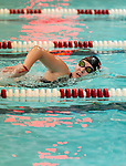 NAUGATUCK ,  CT-101019JS13- Naugatuck's Abby Shugdinis competes in the 500 Yard Freestyle during their meet with Seymour Friday at Naugatuck High School. <br /> Jim Shannon Republican-American