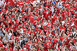 MADISON, WI - SEPTEMBER 9: The student section of the Wisconsin Badgers cheeres during the game against the Western Illinois Leathernecks at Camp Randall Stadium on September 9, 2006 in Madison, Wisconsin. The Badgers beat the Leathernecks 34-10. (Photo by David Stluka)