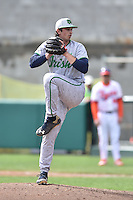 Notre Dame Fighting Irish pitcher Evy Ruibal (44) delivers a pitch during a game against the Clemson Tigers during game one of a double headers at Doug Kingsmore Stadium March 14, 2015 in Clemson, South Carolina. The Tigers defeated the Fighting Irish 6-1. (Tony Farlow/Four Seam Images)