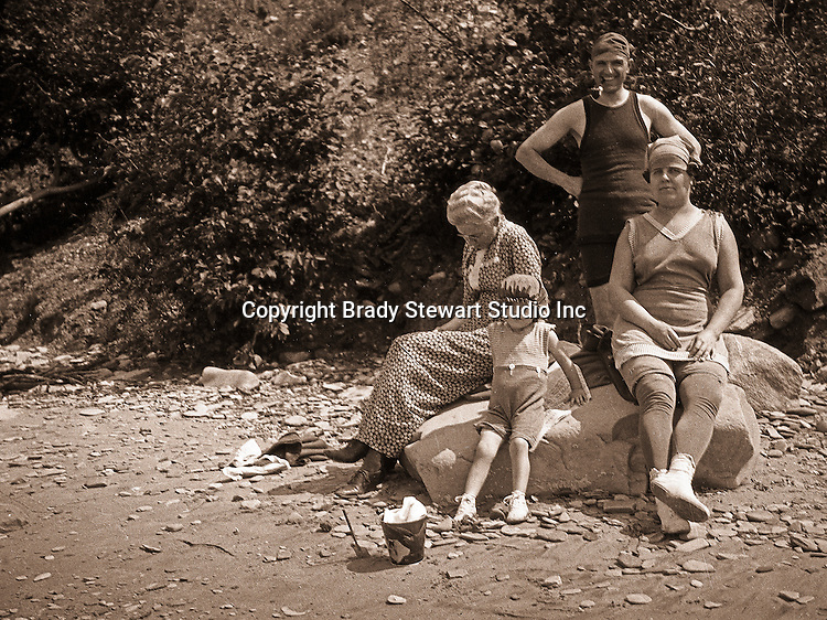 North East PA:  Three generations of the Stewart family vacationing on Lake Erie - Alice, Brady, Aunt Helen and little Helen - 1919.  This was the Stewart family's first Lake Erie vacation after Brady Stewart served his country during World War 1.  Stewart family rented a cabin on Lake Erie near North East.