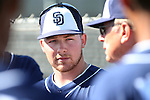 Carson City native Colby Blueberg listens to pitching coach Burt Hooton during a work out with the San Diego Padres during Spring Training in Peoria, Ariz., on Wednesday, March 16, 2016. <br /> Photo by Cathleen Allison