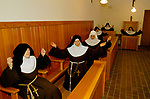 CLOSED ORDER, ROMAN CATHOLIC NUNS, POOR CLARES, Herefordshire  1989 VESPERS. No visitors are allowed, they live a silent life of prayer. In the chapel Vespers, a sunset evening prayer service.