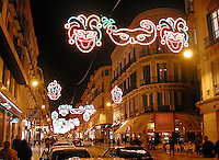 Night scene in Calle Marques De Larios, Malaga, Spain, during carnival. .Ref: 200202123296.<br />