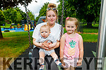 Sarah, Kolton and Kelsey Mcarthy from Tralee enjoying the Tralee Town Park playground which reopened on Monday