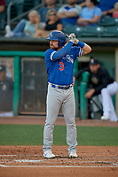 Jake Peter (3) of the Oklahoma City Dodgers at bat against the Salt Lake Bees at Smith's Ballpark on August 1, 2019 in Salt Lake City, Utah. The Bees defeated the Dodgers 14-4. (Stephen Smith/Four Seam Images)