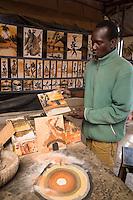 Malian-Senegalese Artist Boubacar Dia Demonstrates his Sand-Painting Technique.  Goree Island, Dakar, Senegal.
