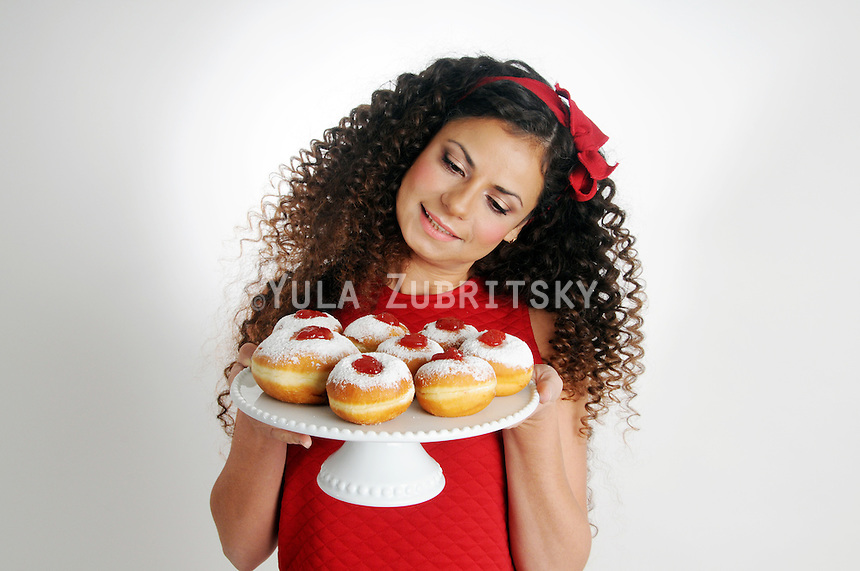 Hanukkah donuts serving