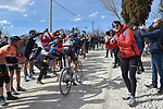 Diego Rosa (ITA) Team Sky out front alone climbing sector 8 Monte Santa Maria during Strade Bianche 2019 running 184km from Siena to Siena, held over the white gravel roads of Tuscany, Italy. 9th March 2019.<br /> Picture: LaPresse/Fabio Ferrari | Cyclefile<br /> <br /> <br /> All photos usage must carry mandatory copyright credit (© Cyclefile | LaPresse/Fabio Ferrari)