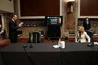 "Former United States Deputy Attorney General Rod Rosenstein greets United States Senator Marsha Blackburn (Republican of Tennessee) before a US Senate Judiciary Committee hearing to discuss the FBI's ""Crossfire Hurricane"" investigation on Wednesday, June 3, 2020.<br /> Credit: Greg Nash / Pool via CNP/AdMedia"