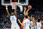 02 APR 2016: Guard Malachi Richardson (23) of Syracuse University shoots between Forward Joel James (42) and Forward Justin Jackson (44) of the University of North Carolina during the 2016 NCAA Men's Division I Basketball Final Four Semifinal game held at NRG Stadium in Houston, TX. North Carolina defeated Syracuse 83-66 to advance to the championship game.  Brett Wilhelm/NCAA Photos