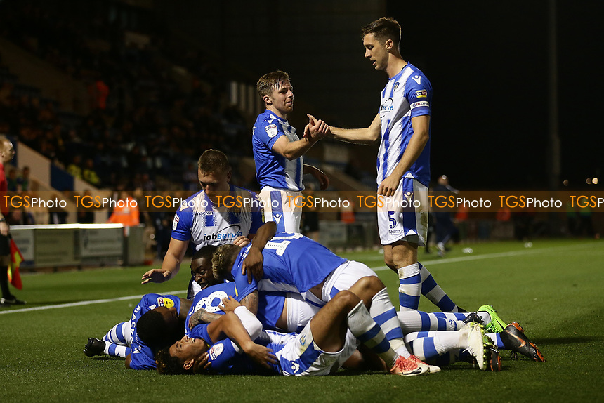 Frank Nouble of Colchester United scores the second goal for his team and celebrates with his team mates during Colchester United vs Yeovil Town, Sky Bet EFL League 2 Football at the JobServe Community Stadium on 2nd October 2018