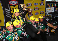 Feb 28, 2016; Chandler, AZ, USA; NHRA top fuel driver Leah Pritchett celebrates with her crew after winning the Carquest Nationals at Wild Horse Pass Motorsports Park. Mandatory Credit: Mark J. Rebilas-USA TODAY Sports