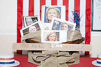 """A display titled """"The Real Deplorables"""" with images of Hillary Clinton, Debbie Wasserman Schultz, and other Democratic party members is visible in the Donald Trump campaign office in Hialeah, Miami, Florida, on Sun., Oct. 9, 2016. The title is a reference to Hillary's comment during a campaign speech that half of Trump's supporters are """"deplorables."""""""