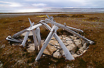 Ancient (600 to 10000 years old) Thule site, Somerset Island, Canada.  Shelter made from whale bones.