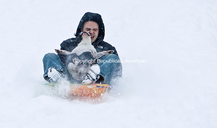 MIDDLEBURY, CT - 16 FEBRUARY 2010 -021610JT04--<br /> HERE IS YOUR WILD ART: Pat Ercoli sleds down a hill with his three-year-old French bulldog Petey near Town Hall and the Shepardson Community Center in Middlebury during Tuesday's snow shower.<br /> Josalee Thrift Republican-American