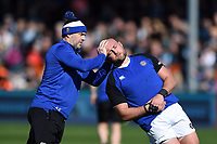 Allan Ryan and Tom Dunn of Bath Rugby in action during the pre-match warm-up. Gallagher Premiership match, between Exeter Chiefs and Bath Rugby on March 24, 2019 at Sandy Park in Exeter, England. Photo by: Patrick Khachfe / Onside Images