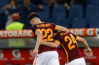 Calcio, Serie A: Roma vs Sampdoria. Roma, stadio Olimpico, 7 febbraio 2016.<br /> Roma&rsquo;s Alessandro Florenzi, right, celebrates with teammate Stephan El Shaarawy after scoring during the Italian Serie A football match between Roma and Sampdoria at Rome's Olympic stadium, 7 January 2016.<br /> UPDATE IMAGES PRESS/Riccardo De Luca