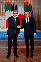 Paolo Gentiloni e Emmanuel Macron<br /> Roma 10/01/2018. 4° Vertice dei paesi del sud dell'Unione Europea<br /> Rome January 10th 2018. 4th Summit of the southern EU Countries<br /> Foto Samantha Zucchi Insidefoto