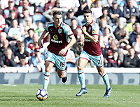 Burnley's Ashley Westwood (left) and Matthew Lowton<br /> <br /> Photographer Rich Linley/CameraSport<br /> <br /> The Premier League - Burnley v Leicester City - Saturday 14th April 2018 - Turf Moor - Burnley<br /> <br /> World Copyright &copy; 2018 CameraSport. All rights reserved. 43 Linden Ave. Countesthorpe. Leicester. England. LE8 5PG - Tel: +44 (0) 116 277 4147 - admin@camerasport.com - www.camerasport.com