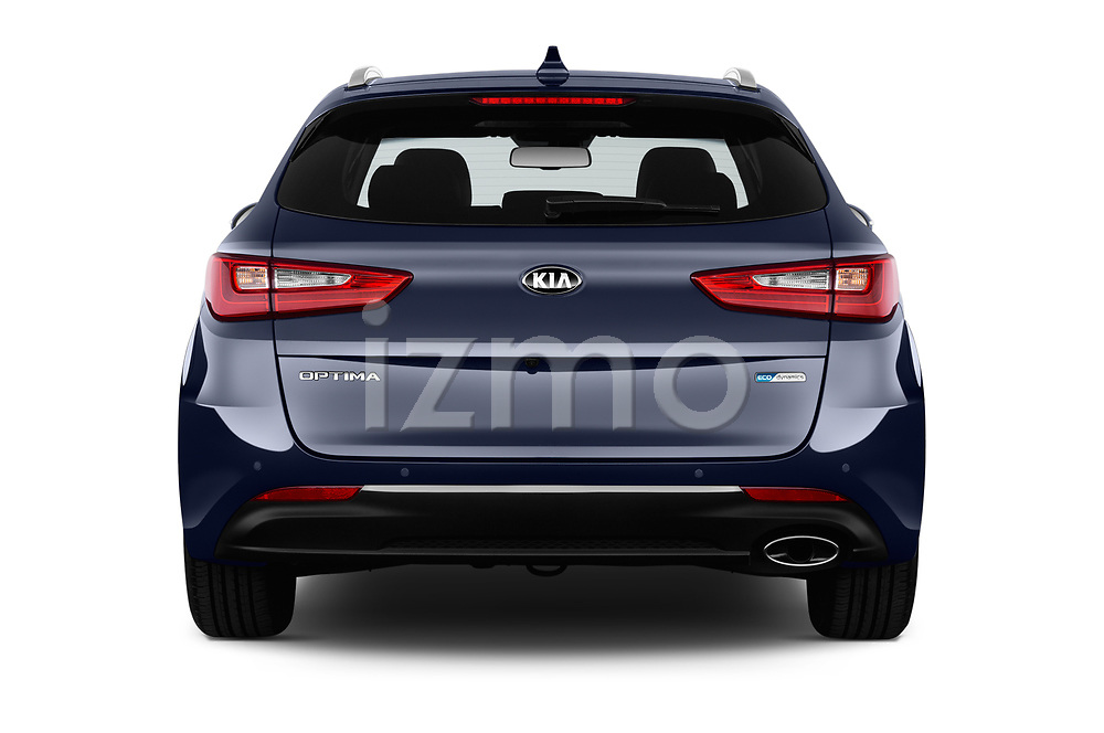 Straight rear view of 2017 KIA Optima-Sportswagon Fusion 5 Door Wagon Rear View  stock images