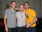 Mark Johnson, Robbie Campbell and Christopher Woods pictured at Adrian Thornton's 30th birthday in the Star and Crescent. Photo: Colin Bell/pressphotos.ie