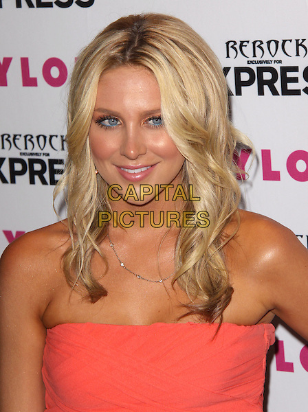 STEPHANIE PRATT .at the NYLON + EXPRESS August Denim Issue party held at The London in West Hollywood, California, USA, August 10th 2010.s.portrait headshot tanned strapless orange coral blue eyeliner make-up .CAP/RKE/DVS.©DVS/RockinExposures/Capital Pictures.
