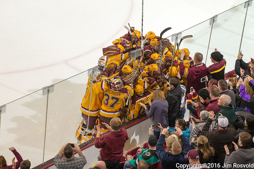 26 Feb 16: The University of Minnesota Golden Gophers play against the University of Michigan Wolverines in a B1G conference matchup at Mariucci Arena in Minneapolis, MN.