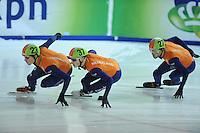 SHORTTRACK: AMSTERDAM: Jaap Edenhal, 04-01-2015, KPN NK Shorttrack, Freek van der Wart (#23), Tjerk de Boer (#37), Daan Breeuwsma (#27), ©foto Martin de Jong
