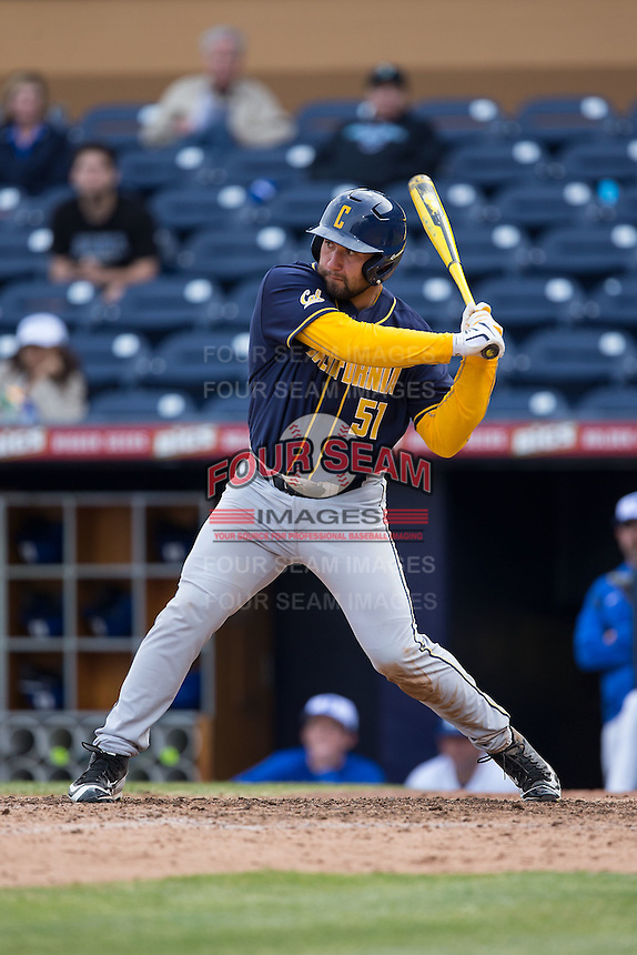 Nick Halamandaris (51) of the California Golden Bears at bat against the Duke Blue Devils at Durham Bulls Athletic Park on February 20, 2016 in Durham, North Carolina.  The Blue Devils defeated the Golden Bears 6-5 in 10 innings.  (Brian Westerholt/Four Seam Images)