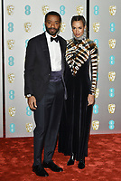 Chiwetel Ejiofor and Frances Aaternir<br /> The EE British Academy Film Awards 2019 held at The Royal Albert Hall, London, England, UK on February 10, 2019.<br /> CAP/PL<br /> ©Phil Loftus/Capital Pictures