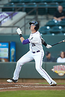 Craig Dedelow (26) of the Winston-Salem Dash follows through on his swing against the Wilmington Blue Rocks at BB&T Ballpark on April 16, 2019 in Winston-Salem, North Carolina. The Blue Rocks defeated the Dash 4-3. (Brian Westerholt/Four Seam Images)