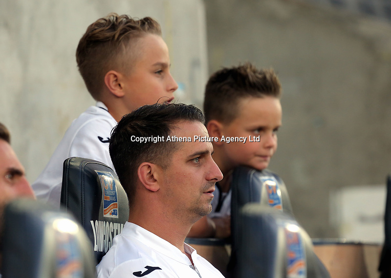 Ferrie Bodde with his two sons during the Alan Tate Testimonial Match, Swansea City Legends v Manchester United Legends at the Liberty Stadium, Swansea, Wales, UK