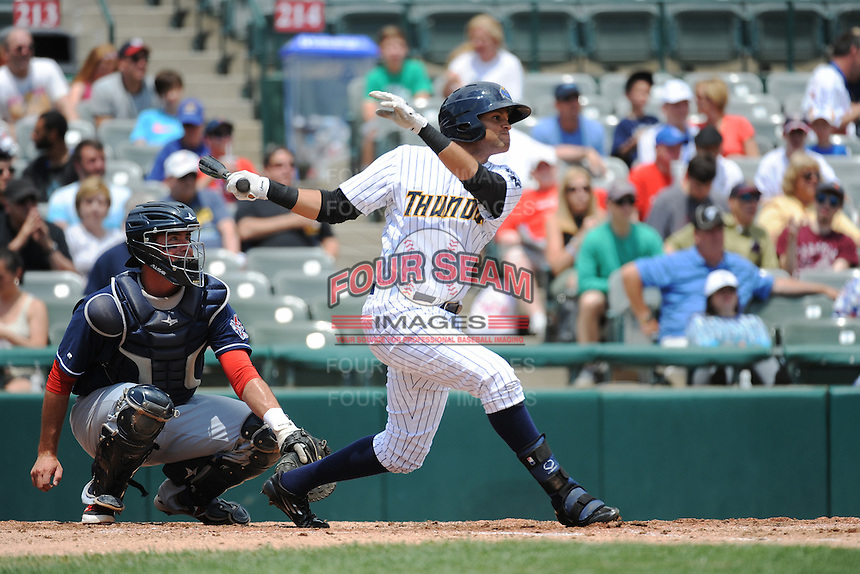 Trenton Thunder outfielder Mason Williams (9) during game against the New Hampshire Fisher Cats at ARM & HAMMER Park on June 22, 2014 in Trenton, NJ.  New Hampshire defeated Trenton 7-2.  (Tomasso DeRosa/Four Seam Images)