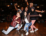 """Kyle Weiler, Deon'te Goodman, Anthony Lee Medina, Lauren Boyd,  Terrance Spencer and Gabriella Sorrentino during the eduHAM Q & A before The Rockefeller Foundation and The Gilder Lehrman Institute of American History sponsored High School student #EduHam matinee performance of """"Hamilton"""" at the Richard Rodgers Theatre on October 30, 2019 in New York City."""