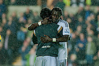 Sunday 9th November 2014<br /> Pictured: Wilfried Bony of Swansea City hugs Bafetibis Gomis of Swansea City after the game <br /> Re: Barclays Premier League Swansea City v Arsenal at the Liberty Stadium, Swansea, Wales,UK