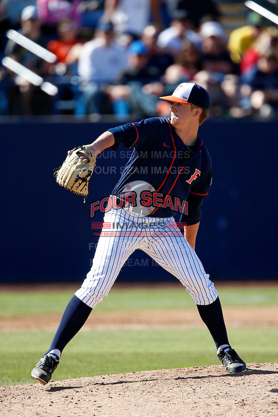 Bryan Conant #48 of the Cal State Fullerton Titans pitches against the Oregon Ducks at Goodwin Field on March 3, 2013 in Fullerton, California. (Larry Goren/Four Seam Images)
