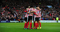 Lincoln City's Harry Anderson, left, celebrates after his cross was deflected into the net by Chesterfield's Andy Kellett<br /> <br /> Photographer Chris Vaughan/CameraSport<br /> <br /> The EFL Sky Bet League Two - Lincoln City v Chesterfield - Saturday 7th October 2017 - Sincil Bank - Lincoln<br /> <br /> World Copyright &copy; 2017 CameraSport. All rights reserved. 43 Linden Ave. Countesthorpe. Leicester. England. LE8 5PG - Tel: +44 (0) 116 277 4147 - admin@camerasport.com - www.camerasport.com