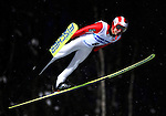 Takanobu Okabe of Japan   soars through the air during the FIS World Cup Ski Jumping in Sapporo, northern Japan in February, 2008.