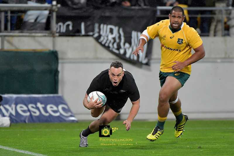 All Blacks' Isael Dagg in action during the All Blacks v Wallabies. The Rugby Championship &amp; Bledisloe Cup at Westpac Stadium, Wellington, New Zealand on Saturday 27 August 2016.<br /> Photo by Masanori Udagawa. <br /> www.photowellington.photoshelter.com.