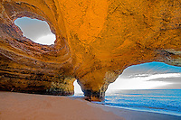 Benagil sea arches and cave, Benagil Beach, Portugal, Algrave Coast, Atlantic Ocean